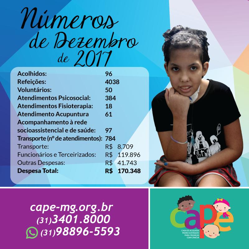 Números do Mês de Dezembro 2017 – CAPE
