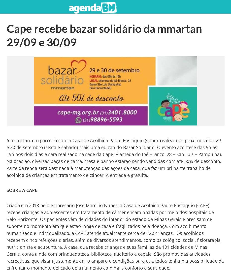 Cape recebe bazar solidário da Mmartan