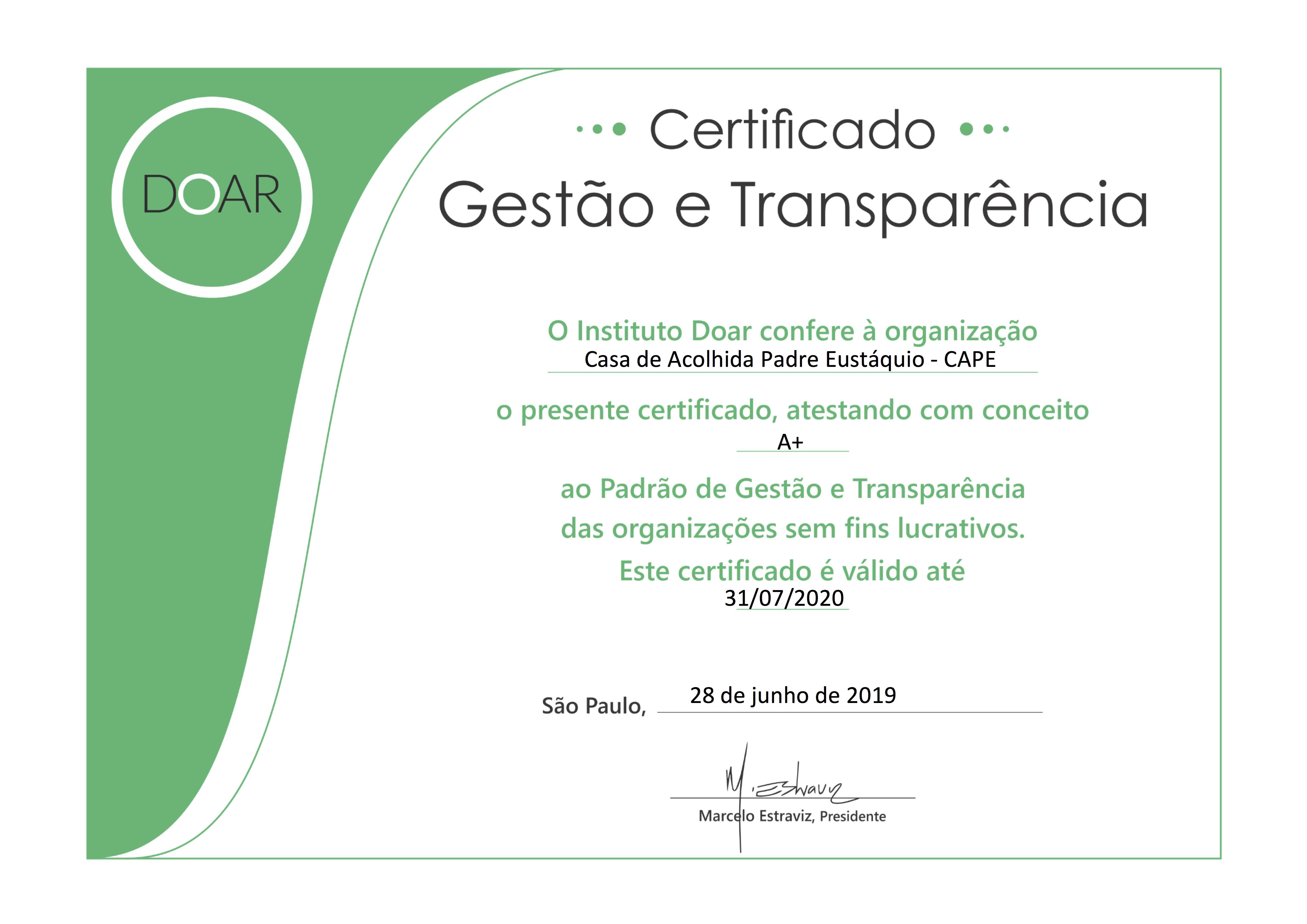 Certificado Doar, conceito A+ CAPE 2019